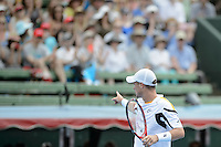 MELBOURNE, AUSTRALIA - JANUARY 12: LLEYTON HEWITT (AUS) celebrates after winning the 2013 AAMI Classic event against JUAN MARTIN DEL POTRO (ARG) 6-1 6-4 at the Kooyong Lawn Tennis Club in Melbourne, Australia. (Photo Sydney Low)