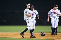 Bradley Keller (13) of the Danville Braves celebrates following his game winning hit in the bottom of the 11th inning against the Princeton Rays at American Legion Post 325 Field on June 25, 2017 in Danville, Virginia.  The Braves walked-off the Rays 7-6 in 11 innings.  (Brian Westerholt/Four Seam Images)