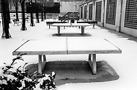 France. Ile-de-france Department. Paris. In the Marais neighborhood. Winter season. Table tennis covered with snow in a public park. Somebody wrote on the table: Emilia, I love you so much. 24.02.05 © 2005 Didier Ruef