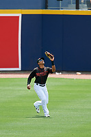 Nashville Sounds center fielder Kenny Wilson (11) catches a fly ball during a game against the New Orleans Baby Cakes on May 1, 2017 at First Tennessee Park in Nashville, Tennessee.  Nashville defeated New Orleans 6-4.  (Mike Janes/Four Seam Images)