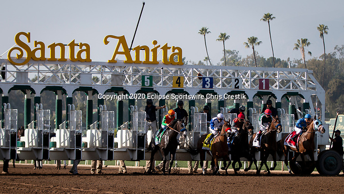 ARCADIA, CA: Start of the the Grade II Las Virgenes Stakes at Santa Anita Park in Arcadia, California on February 08, 2020.