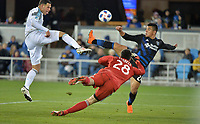 San Jose, CA - Saturday March 03, 2018: Christian Ramirez, Nick Lima, Andrew Tarbell during a 2018 Major League Soccer (MLS) match between the San Jose Earthquakes and Minnesota United FC at Avaya Stadium.