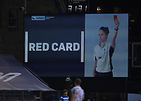 19th February 2021; Recreation Ground, Bath, Somerset, England; English Premiership Rugby, Bath versus Gloucester; Val Rapava-Ruskin of Gloucester receives a red card from Referee Wayne Barnes