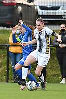 Sien Vandersanden (10) of KRC Genk and Estelle Dessilly (13) of Sporting Charleroi in action during a female soccer game between Sporting Charleroi and KRC Genk on the 4 th matchday in play off 2 of the 2020 - 2021 season of Belgian Scooore Womens Super League , friday 30 th of April 2021  in Marcinelle , Belgium . PHOTO SPORTPIX.BE | SPP | Jill Delsaux