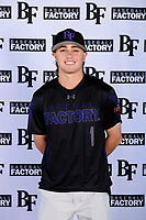 Devin Greaff (1) of Crosby High School in Crosby, Texas during the Baseball Factory All-America Pre-Season Tournament, powered by Under Armour, on January 12, 2018 at Sloan Park Complex in Mesa, Arizona.  (Mike Janes/Four Seam Images)