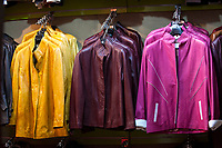 Fes, Morocco.  Leather Jackets for Sale in the Medina, Fes El-Bali.