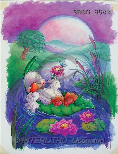 Ron, CUTE ANIMALS, Quacker, paintings, duck, resting(GBSG8088,#AC#) Enten, patos, illustrations, pinturas