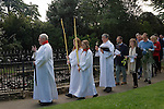Palm Sunday procession St Mary the Virgin Church of England Merton South Wimbledon London UK.