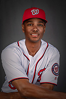 22 February 2019: Washington Nationals outfielder Michael Taylor poses for his Photo Day portrait at the Ballpark of the Palm Beaches in West Palm Beach, Florida. Mandatory Credit: Ed Wolfstein Photo *** RAW (NEF) Image File Available ***
