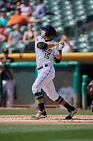David Fletcher (15) of the Salt Lake Bees bats against the Fresno Grizzlies at Smith's Ballpark on September 4, 2017 in Salt Lake City, Utah. Fresno defeated Salt Lake 9-7. (Stephen Smith/Four Seam Images)
