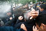 """© Hughes Léglise-Bataille/Wostok Press.France, Paris.31.05.2010..Plus d'un millier de personnes ont manifeste pres de l'ambassade israelienne a Paris pour protester contre les victimes lors de l'arraisonnement par Israel de la """"flotille de la paix"""" pour Gaza. De violents affrontements avec les forces de l'ordre ont eu lieu a plusieurs reprises...More than a thousand people demonstrated near the Israeli embassy in Paris to protest against the victims during the raid against the flotilla of Gaza bound aid ships. Violent confrontations with the police occurred several times."""