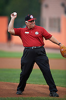 Aberdeen Ironbirds guest Ron Spratt throws out the ceremonial first pitch before during a game against the Tri-City ValleyCats on August 6, 2015 at Ripken Stadium in Aberdeen, Maryland.  Tri-City defeated Aberdeen 5-0 in a combined no-hitter.  (Mike Janes/Four Seam Images)