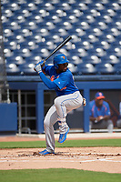 GCL Mets Kenneth Bautista (93) at bat during the first game of a doubleheader against the GCL Nationals on July 22, 2017 at The Ballpark of the Palm Beaches in Palm Beach, Florida.  GCL Mets defeated the GCL Nationals 1-0 in a seven inning game that originally started on July 17th.  (Mike Janes/Four Seam Images)