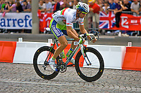 Aleksandr Kuchynski from professional cycling team Liquigas, breaks away from the peleton on the Champs Elysees, Paris on 25th July 2010