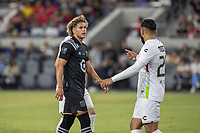 LOS ANGELES, CA - AUGUST 25: Cade Cowell #44 of the MLS All Stars and Alexis Canelo #25 of the Liga MX All Stars during a game between Liga MX All Stars and MLS All Stars at Banc of California Stadium on August 25, 2021 in Los Angeles, California.