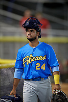 Myrtle Beach Pelicans Eric Gonzalez (24) after a Carolina League game against the Potomac Nationals on August 14, 2019 at Northwest Federal Field at Pfitzner Stadium in Woodbridge, Virginia.  Potomac defeated Myrtle Beach 7-0.  (Mike Janes/Four Seam Images)