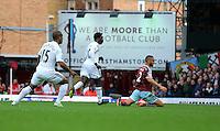 Sunday 07 December 2014<br /> Pictured: Wilfried Bony of Swansea (C) having just scored his opening goal<br /> Re: Premier League West Ham United v Swansea City FC at Boleyn Ground, London, UK.