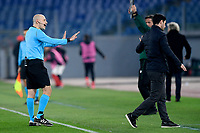 18th February 2021, Rome, Italy;   Referee Cuneyt Cakir talks to Mikel Arteta during the UEFA Europa League round of 32 Leg 1 match between SL Benfica and Arsenal at Stadio Olimpico, Rome, Italy on 18 February 2021.