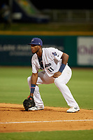 Pensacola Blue Wahoos first baseman Lewin Diaz (11) during a Southern League game against the Mobile BayBears on July 25, 2019 at Blue Wahoos Stadium in Pensacola, Florida.  Pensacola defeated Mobile 3-2 in the second game of a doubleheader.  (Mike Janes/Four Seam Images)
