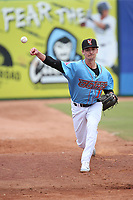 Austin Warren (10) of the Inland Empire 66ers throws in the bullpen during a game against the Stockton Ports at San Manuel Stadium on May 26, 2019 in San Bernardino, California. (Larry Goren/Four Seam Images)