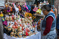 Oaxaca, Mexico, North America.  Day of the Dead Celebrations.  Skeleton Candy, Sweets, Popcorn, Dolls for Children.
