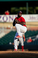 Palm Beach Cardinals pitcher Ramon Santos (23) during a Florida State League game against the Clearwater Threshers on August 10, 2019 at Roger Dean Chevrolet Stadium in Jupiter, Florida.  Clearwater defeated Palm Beach 11-4.  (Mike Janes/Four Seam Images)