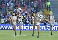 BOGOTA - COLOMBIA -13 -02-2016: Bastoneras de Millonarios animan a su equipo durante el encuentro entre Millonarios y Deportivo Pasto por la fecha 3 de la Liga Águila I 2016 jugado en el estadio Nemesio Camacho El Campín de la ciudad de Bogotá./ Cheerleaders of Millonarios cheer for their team during a match between Millonarios and Deportivo Pasto for the date 3 of the Aguila League I 2016 played at Nemesio Camacho El Campin stadium in Bogota city. Photo: VizzorImage / Gabriel Aponte / Staff.
