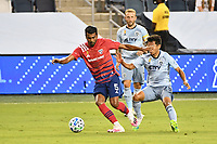 KANSAS CITY, KS - SEPTEMBER 02: Thiago Santos #5 of FC Dallas on the ball during a game between FC Dallas and Sporting Kansas City at Children's Mercy Park on September 02, 2020 in Kansas City, Kansas.