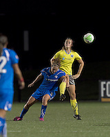 Boston Breakers forward Lauren Cheney (8) and Philadelphia Independence defender Allison Falk (3) battle for head ball. The Philadelphia Independence defeated the Boston Breakers, 2-1, in extra time in the WPS Super Semifinal played at Soldiers Field Soccer Stadium on September 23, 2010.