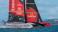 15th March 2021; Waitemata Harbour, Auckland, New Zealand;  Emirates Team New Zealand wins race seven against Luna Rossa Prada Pirelli Team on day five of the America's Cup presented by Prada