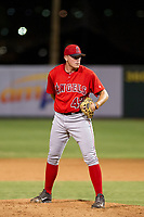 AZL Angels relief pitcher Jeremy Beasley (43) gets ready to deliver a pitch during a game against the AZL Giants on July 9, 2017 at Diablo Stadium in Tempe, Arizona. AZL Giants defeated the AZL Angels 8-4. (Zachary Lucy/Four Seam Images)