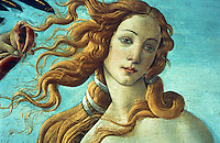 Renaissance Art:  Botticelli--The Birth of Venus, detail.  Model was Simonetta Vespucci.  Galleria Uffizi.