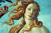 Renaissance Art:  Botticelli--The Birth of Venus, detail.  Model was Simonetta Vespucci.  Galleria Uffizi.
