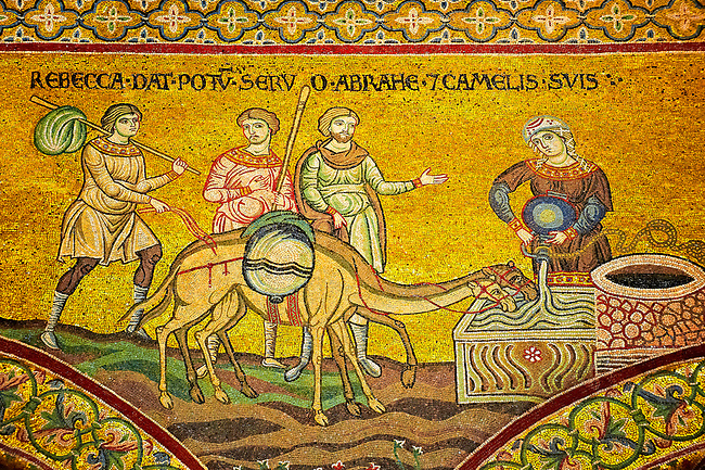 Medieval Byzantine mosaics of Rebecca and Abraham, Monreale Cathedral, Sicily