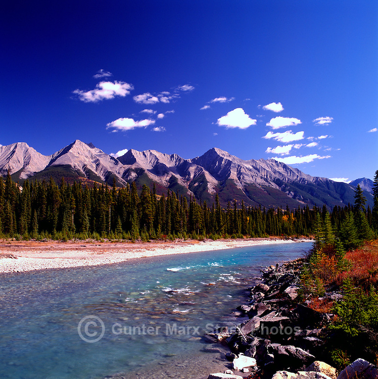 Kootenay National Park, Canadian Rockies, BC, British Columbia, Canada - Kootenay River and Mitchell Range Mountains, Autumn / Fall