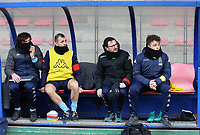 Charleroi trainers pictured on the bench before a female soccer game between Standard Femina de Liege and Sporting Charleroi on the 16th matchday of the 2020 - 2021 season of Belgian Scooore Womens Super League , saturday 13 th of February 2021  in Angleur , Belgium . PHOTO SPORTPIX.BE | SPP | SEVIL OKTEM