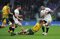 Ben Te'oof England is tackled by Michael Hooper (c) of Australia during the Quilter International match between England and Australia at Twickenham Stadium on Saturday 24th November 2018 (Photo by Rob Munro/Stewart Communications)