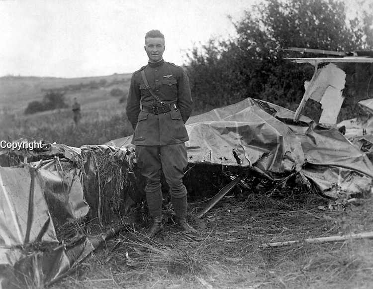 """Lt. Frank Luke, who is running Lt. Eddie Rickenbacker a spirited race for the honor of being called the """"ACE"""" of the American fliers overseas.  Lt. Luke brought down three German observation balloons in thrity five minutes.  1918. (Army)<br /> Exact Date Shot Unknown<br /> NARA FILE #:  111-SC-23128<br /> WAR & CONFLICT BOOK #:  599"""