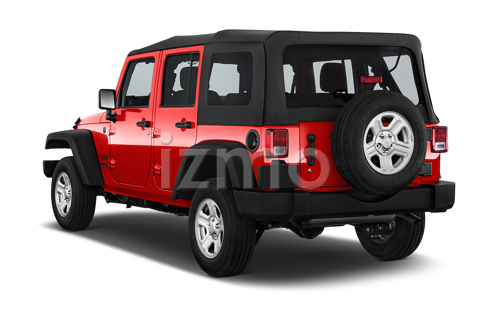 Car pictures of rear three quarter view of a 2015 JEEP Wrangler Unlimited Sport 5 Door Sport Utility Vehicle Angular Rear