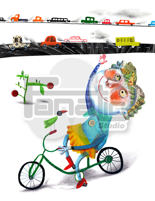 Illustrative image of girl riding bicycle with traffic in background representing go green concept