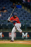 Jacksonville Jumbo Shrimp starting pitcher Jorge Guzman (26) batting during a Southern League game against the Mississippi Braves on May 4, 2019 at Trustmark Park in Pearl, Mississippi.  Mississippi defeated Jacksonville 2-0.  (Mike Janes/Four Seam Images)
