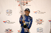 Takuma Sato, Rahal Letterman Lanigan Racing Honda celebrates with champagne on the podium