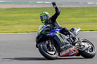 28th August 2021; Silverstone Circuit, Silverstone, Northamptonshire, England; MotoGP British Grand Prix, Qualifying Day; Monster Energy Yamaha MotoGP rider Cal Crutchlow on his Yamaha YZR-M1 waves to the fans