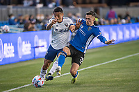 SAN JOSE, CA - MAY 01: Andy Najar #14 of DC United is challenged by Paul Marie #3 of the San Jose Earthquakes during a game between San Jose Earthquakes and D.C. United at PayPal Park on May 01, 2021 in San Jose, California.