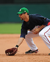 17 March 2009: First baseman Casey Kotchman of the Atlanta Braves in a game against the New York Mets at the Braves' Spring Training camp at Disney's Wide World of Sports in Lake Buena Vista, Fla. Photo by:  Tom Priddy/Four Seam Images