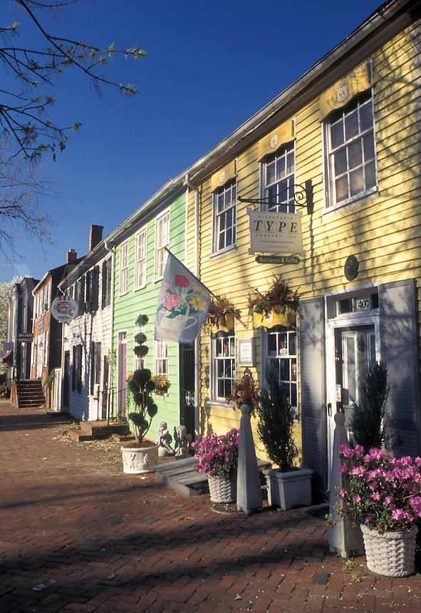 Alexandria, VA, Virginia, Shops and galleries along Washington Street in downtown Alexandria.