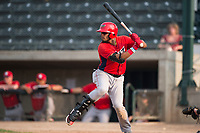 Orem Owlz third baseman Kevin Maitan (9) at bat during a Pioneer League game against the Missoula Osprey at Ogren Park Allegiance Field on August 19, 2018 in Missoula, Montana. The Missoula Osprey defeated the Orem Owlz by a score of 8-0. (Zachary Lucy/Four Seam Images)
