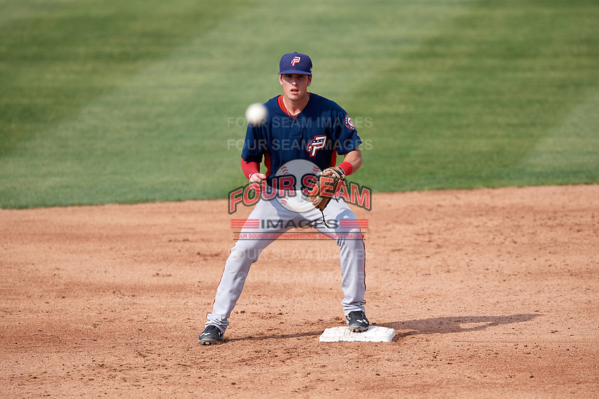Potomac Nationals second baseman David Masters (8) waits for a throw during the first game of a doubleheader against the Lynchburg Hillcats on June 9, 2018 at Calvin Falwell Field in Lynchburg, Virginia.  Lynchburg defeated Potomac 5-3.  (Mike Janes/Four Seam Images)