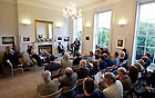 """Aug. 29, 2012; James """"Jimmy"""" Deenihan, Ireland's Minister for Arts, Heritage and the Gaeltacht speaks at O'Connell House in Dublin to open the Notre Dame 1916 Dublin Conference...Photo by Matt Cashore/University of Notre Dame"""