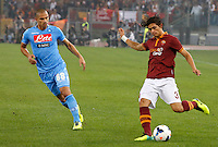 Calcio, Serie A: Roma vs Napoli. Roma, stadio Olimpico, 18 ottobre 2013.<br /> AS Roma defender Dodo', of Brazil, right, is challenged by Napoli midfielder Gokhan Inler, of Switzerland, during the Italian Serie A football match between AS Roma and Napoli at Rome's Olympic stadium, 18 October 2013.<br /> UPDATE IMAGES PRESS/Riccardo De Luca